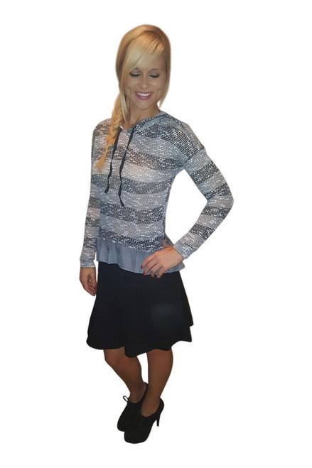 Lightweight Knit Top with Hoodie and Chiffon Peplum. Black & Grey. (B-187)