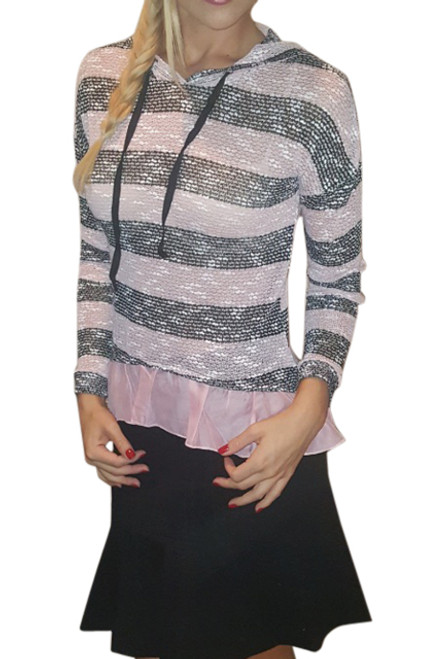 Knit Top with Hoodie and Chiffon Peplum. Black & Pink. (B-189)