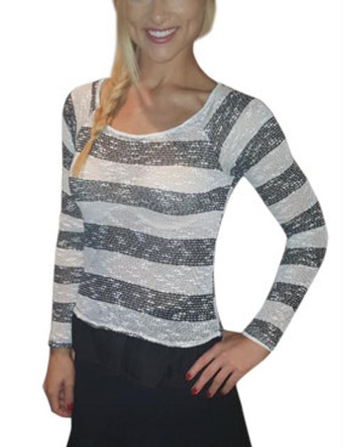Lightweight Knit Top With Chiffon Peplum. Black & White. (B-190)