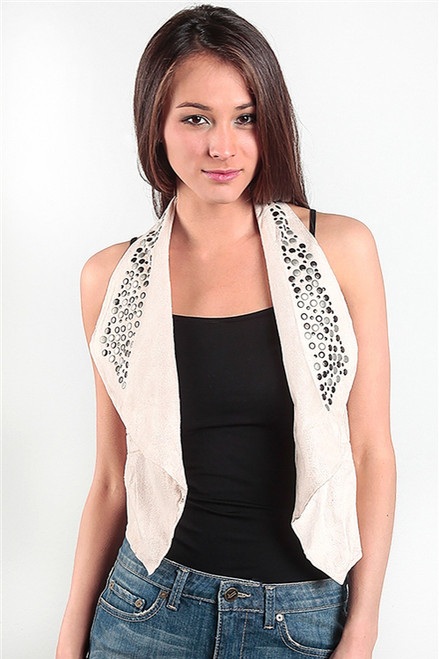 65% Cotton Faux Suede Vest! Ivory with Studs. (C-3)