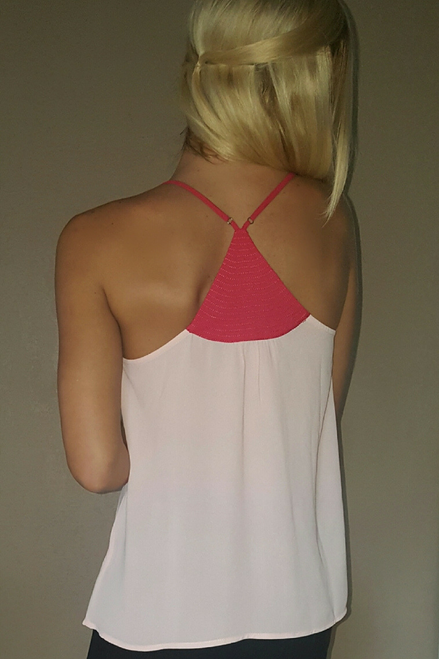 Blush Spaghetti Strap Top with Metal Accent. Americas Hottest Brand!  (D-78)