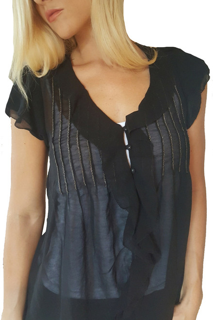 Boutique Top Accessorized with Metal Chain Embroidery! (B-47)
