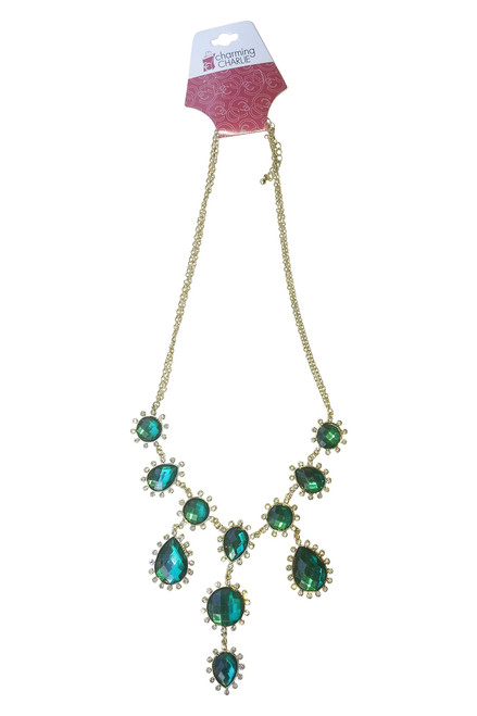 CLASSIC/VINTAGE NECKLACE WITH EMERALD GREEN STONES FROM CHARMING CHARLIE !  (G-91)