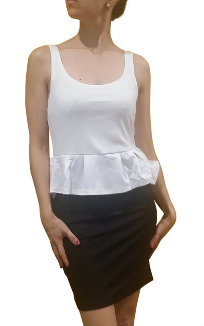 Peplum Dress from Amazing Brand: CAREN SPORT! Black & White Colorblock. (F-32)