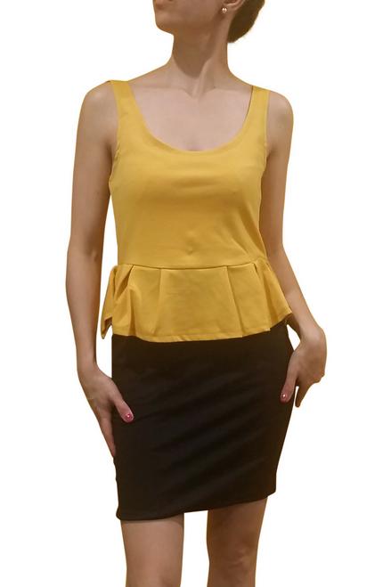 Peplum Dress from Amazing Brand: CAREN SPORT! Mustard & Black Colorblock. (F-31)