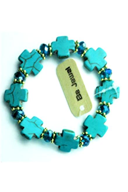 Boho-Chic Faux Turquoise Bracelet! Square Crosses.  (G-36)