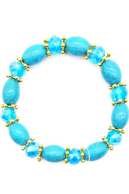 Boho-Chic Faux Turquoise Bracelet! Oval Shapes. (G-35)