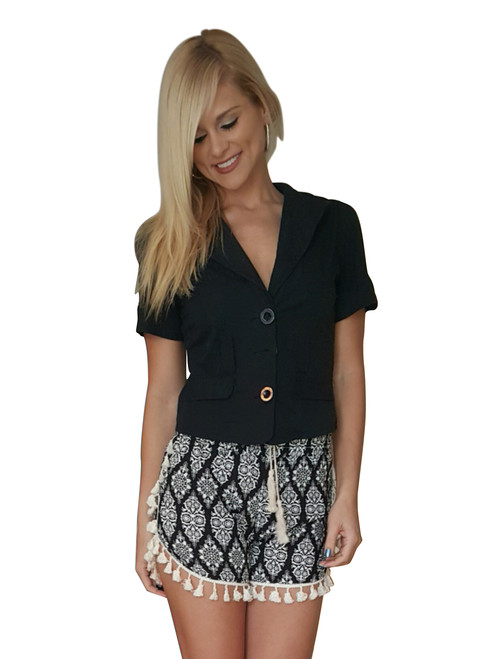 100% Rayon Challis Shorts with Pom Poms! Black with White Paisley. From MAZE! (E-1)