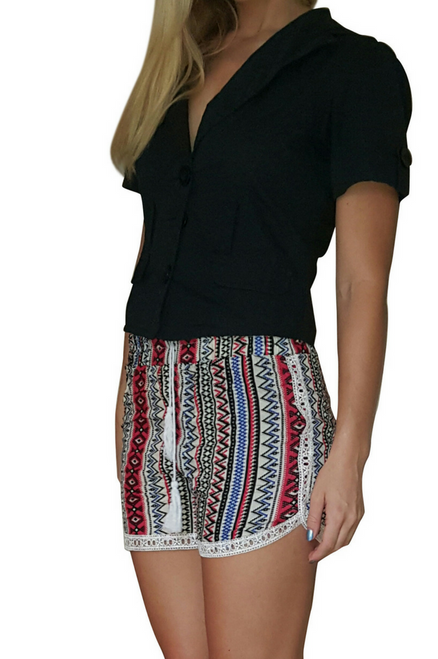 100% Rayon Challis Shorts with Lace Trim! Red/White Aztec Pattern. From MAZE! (E-4)