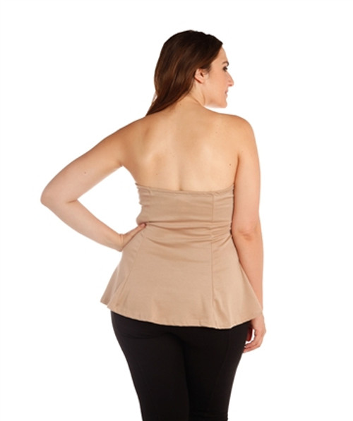 8bfc4bb6d02 PLUS SIZE NUDE STRAPLESS PEPLUM TOP! (B-24) - 5dollarfashions.com