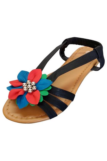 Black & Multi Flower Sandals! (L-6)