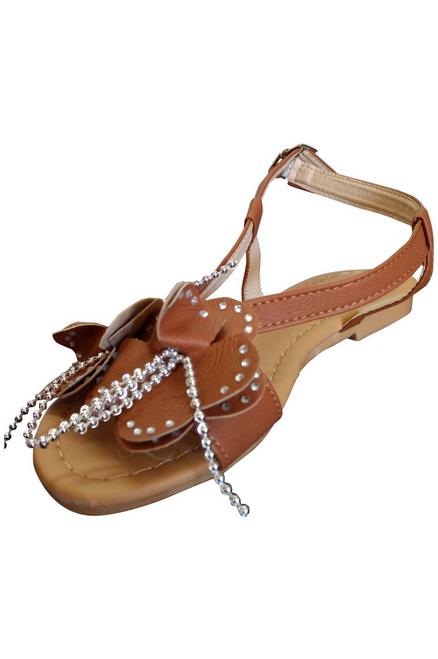 Camel Brown Flower Sandals!  (L-18)