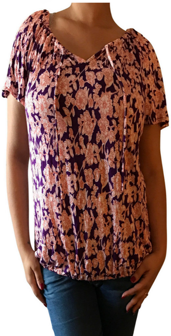 Major Brand Name Top with Peasant Ties! Purple with Orange Floral. (D-136)