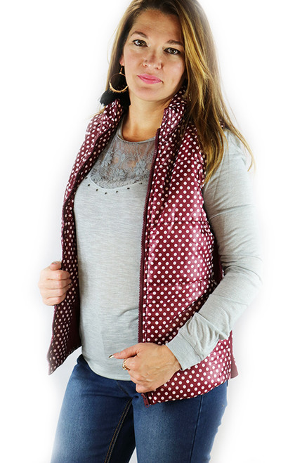Spring Puffy Vest / Jacket! Red with Polka Dots. (D-99)