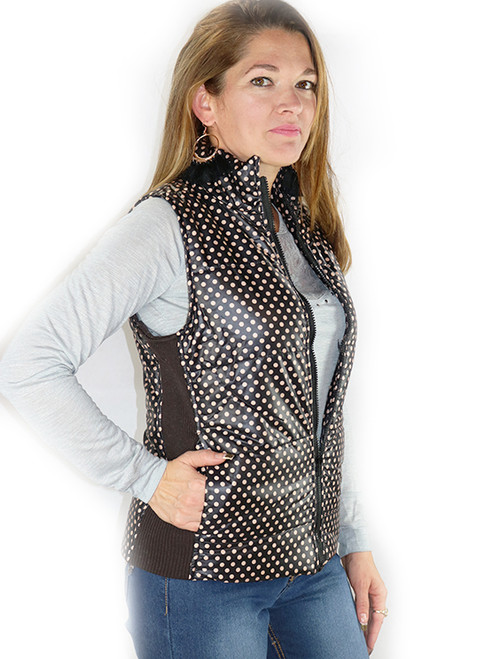 Spring Puffy Vest / Jacket! Black with Polka Dots. (D-100)