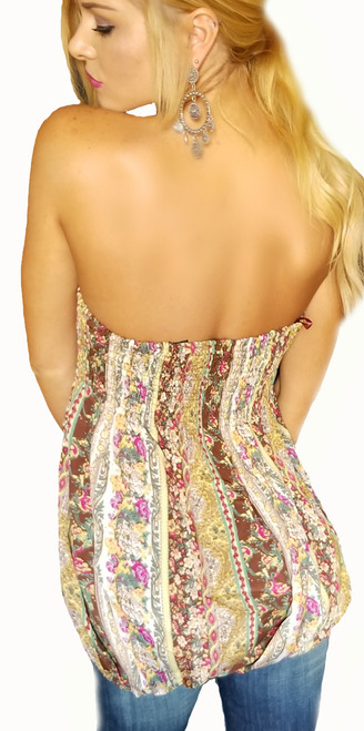 0bc3d82b08 Strapless Top in Boho Green   Yellow Paisley. (A-83 ...