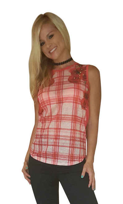 Red Rose Floral Top from MOON RIVER! (A-103)