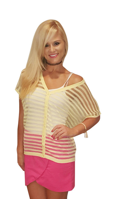 Sheer Yellow Short Sleeve Cardigan from Miracle City Apparel! (A-86)