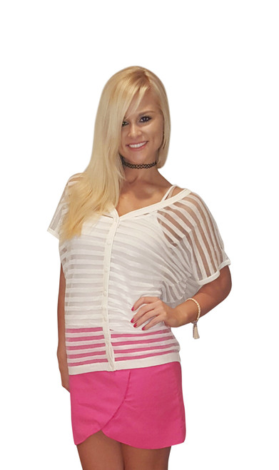Sheer White Short Sleeve Cardigan from Miracle City Apparel! (A-85)