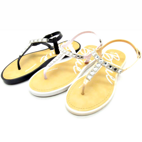 Sandal with 'Diamond' Stones! Nude.  (L-20)