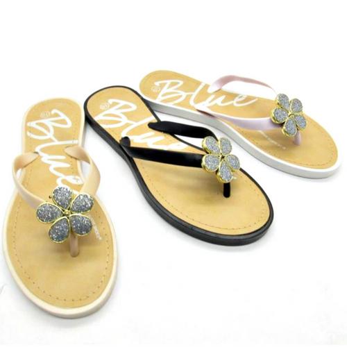 Sandal with 'Flower' Stones! Black. Wooblio Fleur. (L-21)
