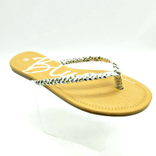 Sandal with Silver Braided Strap! Silver.  (L-24)