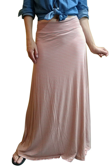 Classic Maxi Skirt in Rayon Tri-Blend! Peach & Orange Stripes. (E-78)
