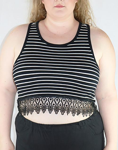 PLUS SIZE  Sleeveless Crop Top Lace Trim! Black & White Stripes. (B-82)