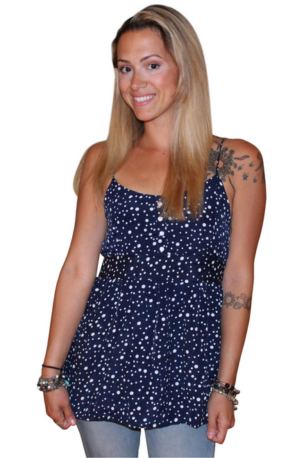 Navy & White Polka Dot Top ties with a Bow in the Back! (B-156)