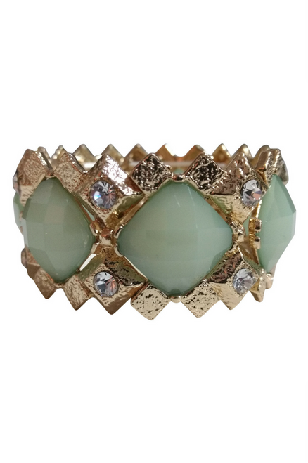 BRACELETS. Dimensional Geo Stretch Bracelet. Color: Gold, Mint. (G-40)