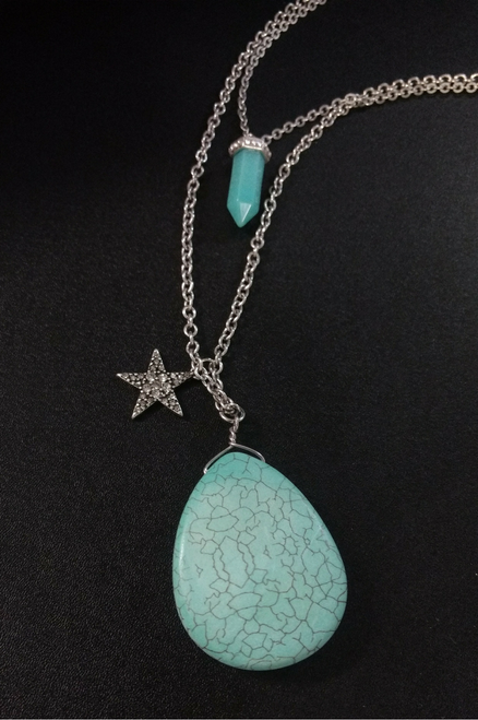 819206a9b7f13 3-Layer Silver Necklace Set with Separate Choker, Turquoise and Star.  (G-74) 0 star rating Write a review