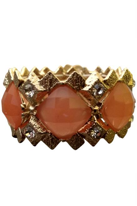 BRACELETS. Dimensional Geo Stretch Bracelet. Peach Stones. (G-41)