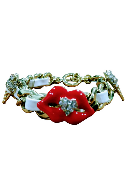 Chunky Chain Bracelet with 'Diamond Encrusted' Lips and Ice Cream Cones!  (G-11)
