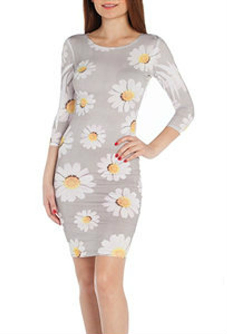 Half Sleeve Bodycon Dress with Sunflowers!
