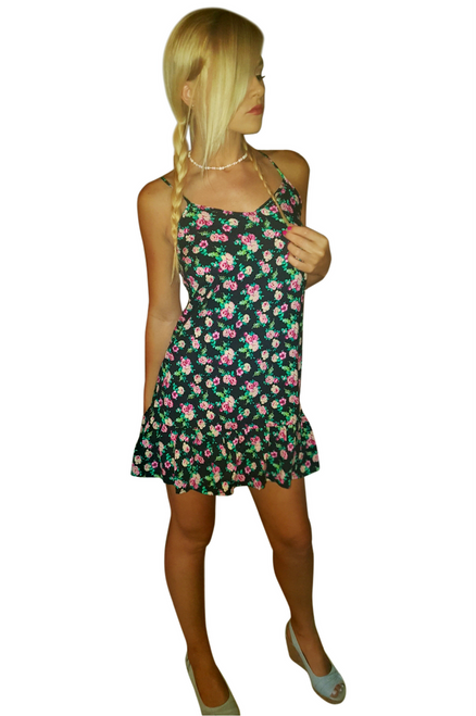 100% Rayon Spaghetti Dress with Rose Floral and Peplum Effect! (A-133)