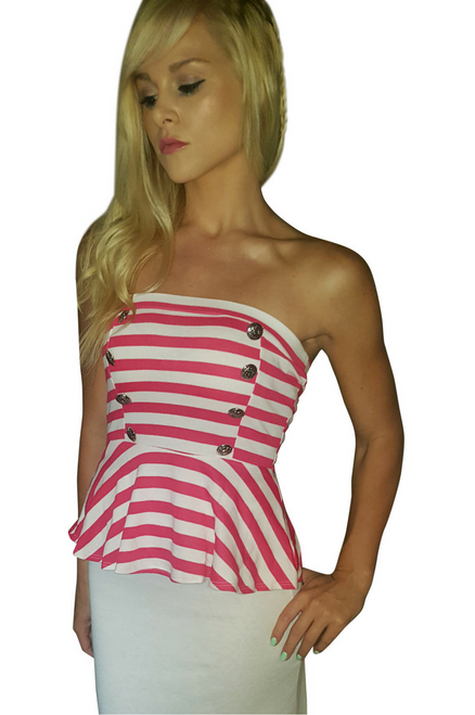 Strapless Cotton Red and White Striped Peplum Top! (B-77)