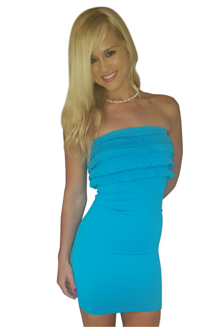 Turquoise Blue Bodycon Dress with Ruffle! One Size Fits Most. (D-59)