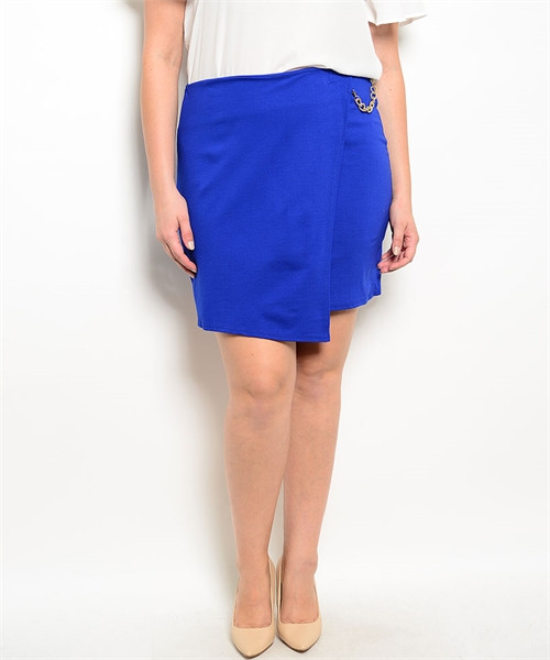 a13b3326ca7 PLUS SIZE Asymmetrical Pencil Skirt with Chain. Blue. (E-42 ...
