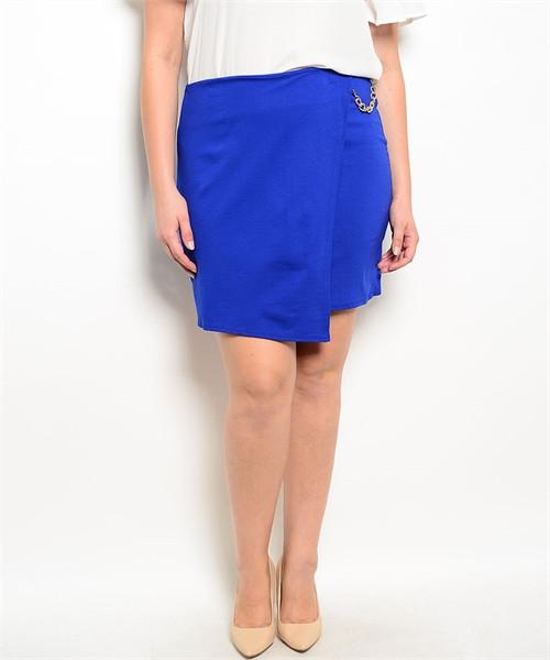 PLUS SIZE Asymmetrical Pencil Skirt with Chain. Blue. (E-42)