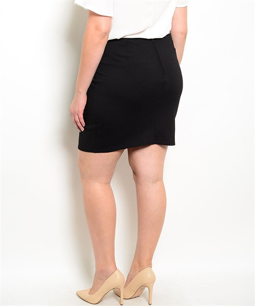 90355cb419d PLUS SIZE Asymmetrical Pencil Skirt with Chain. Black. (E-41 ...