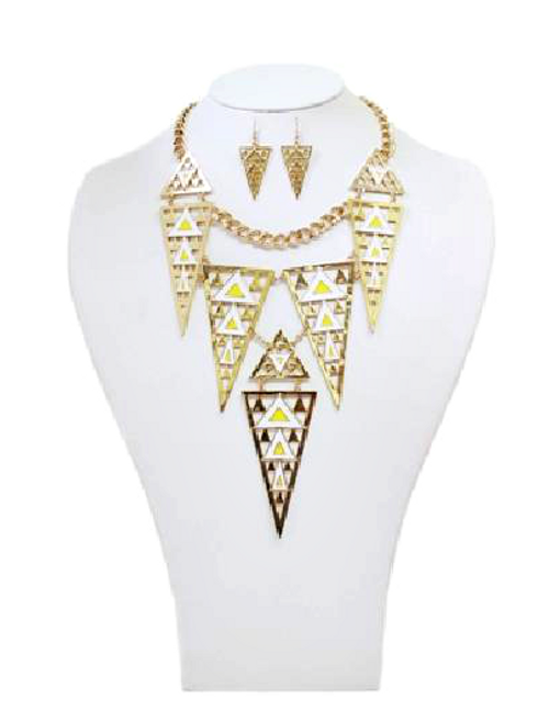 Aztec Statement Necklace and Earrings Set! White, Yellow.  (G-97)