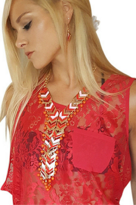 Statement Necklace and Earrings Set! Red and White.