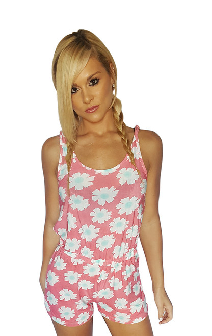 Fall Romper in Coral with White & Mint Retro Floral. (B-115)