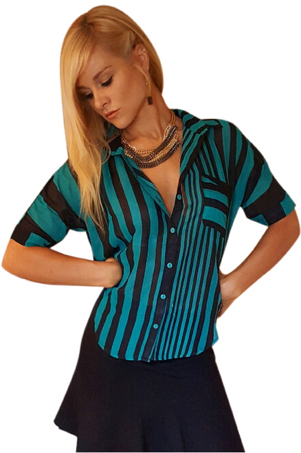 Green and Black Stripes Print Women's Button Down Top!  (A-169)