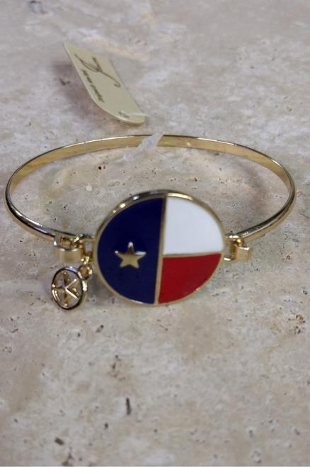 Texas Lone Star State Flag Charm Bracelet!  (G-28)