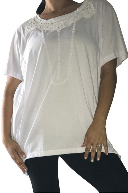 Plus Size Cotton Top with Crochet Accents. White. (D-130)