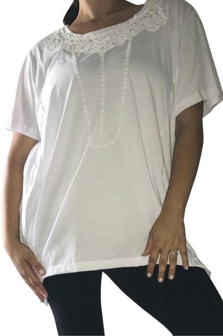 Plus Size Cotton Top with Crochet Accents. White. (D-130)