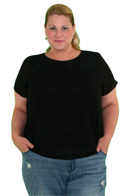 Plus Size Black Top with Daisy Cutouts! (B-1)