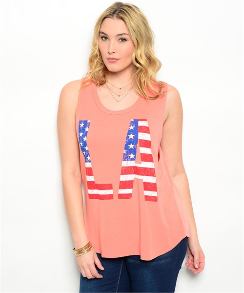 PLUS SIZE American Flag Tank Top with Red, White & Blue \