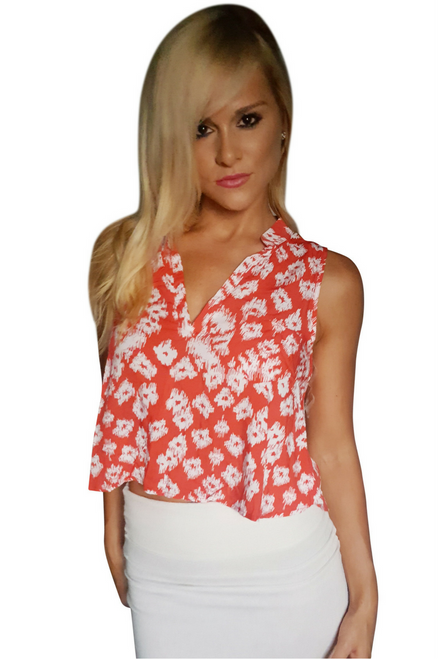 100% Rayon Sleeveless Top Is Red And White Floral Print! (A-107)